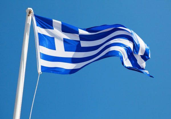 Bandera griega azul y blanco